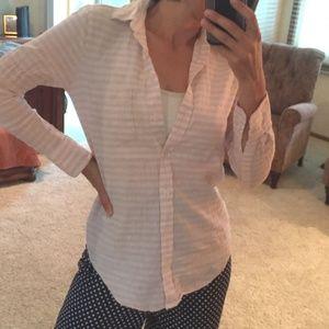 J Crew Linen blend pink striped shirt xxs